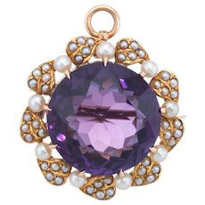 Vintage Art Deco Amethyst Seed Pearl Pendant Brooch 14k Yellow Gold Estate Jewelry