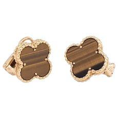 Van Cleef & Arpels Vintage Alhambra Tigers Eye Earrings 18k Yellow Gold Jewelry