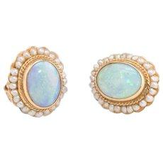 Opal Seed Pearl Stud Earrings Vintage 14 karat Yellow Gold Estate Fine Jewelry