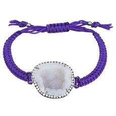 Kimberly McDonald Geode Diamond Bracelet Purple Macrame 18 karat Gold Jewelry