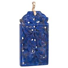 Carved Lapis Lazuli Pendant Vintage 14 karat Yellow Gold Estate Fine Jewelry Birds