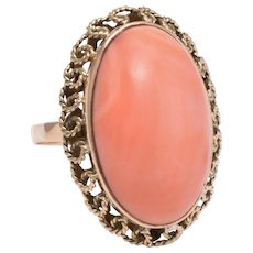 Large Coral Cocktail Ring Vintage 14 karat Yellow Gold Estate Fine Jewelry Pre Owned