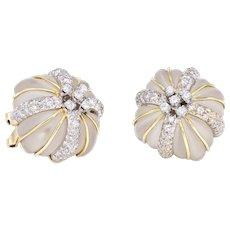 Fluted Rock Crystal Diamond Square Earrings Vintage 14 Karat Yellow Gold Estate Fine