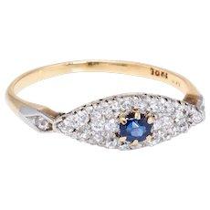 Vintage Art Deco Sapphire Diamond Ring Platinum 18 karat Gold Estate Jewelry