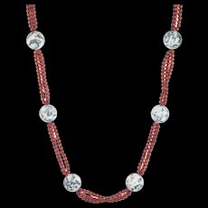 "Long 32"" Garnet Agate Necklace Vintage Fine Jewelry Estate Pre Owned"