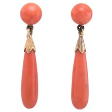 Vintage Art Deco Natural Coral Pendant Drop Earrings 18 karat Yellow Gold Jewelry