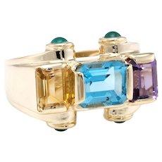 East West Rainbow Gemstone Cocktail Ring Vintage 14 Karat Yellow Gold Estate Jewelry