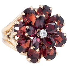 Garnet Diamond Flower Cocktail Ring Vintage 14 karat Yellow Gold Estate Jewelry Fine