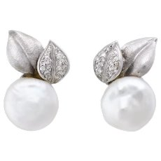 Button Pearl Diamond Leaf Earrings Vintage 18 karat White Gold Estate Fine Jewelry