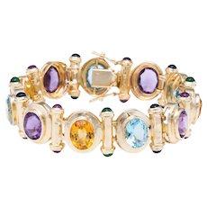 Rainbow Gemstone Bracelet Vintage 14 Karat Yellow Gold Heavy Estate Fine Jewelry