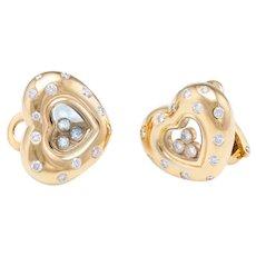 Chopard Heart Floating Diamond Earrings Estate 18 Karat Yellow Gold Fine Jewelry