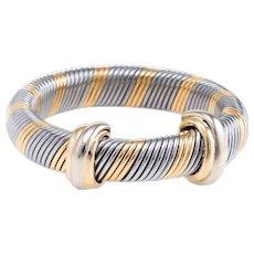 Cartier Vintage Aurore Ring Sz 6.5 18 Karat Yellow Gold Steel Fine Designer Jewelry