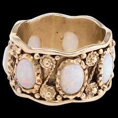 Opal Eternity Ring Sz 7.5 Vintage 14 Karat Yellow Gold Estate Band Fine Jewelry