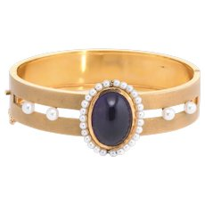 Antique Deco Amethyst Cultured Pearl Bangle Bracelet Vintage 14 Karat Yellow Gold