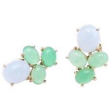 Blue Green Chalcedony Cluster Earrings Vintage 14 Karat Yellow Gold Estate Jewelry