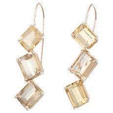 Citrine Drop Earrings Jaggered Vintage 14 Karat Yellow Gold Estate Fine Jewelry