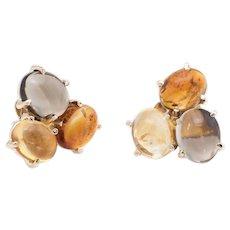 Gemstone Cluster Earrings Vintage 14 Karat Yellow Gold Citrine Topaz Estate Jewelry