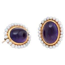 Vintage Art Deco Amethyst Seed Pearl Earrings 14 Karat Yellow Gold Estate Jewelry