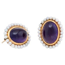 Antique Deco Amethyst Seed Pearl Earrings Vintage 14 Karat Yellow Gold Estate Jewelry
