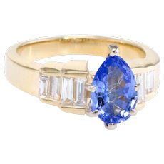 Pear Cut Tanzanite Diamond Cocktail Ring Vintage 14 Karat Yellow Gold Estate Jewelry