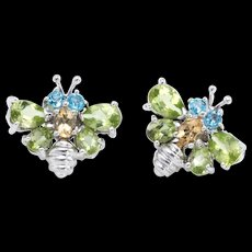 Bumble Bee Stud Earrings Estate 18k Karat White Gold Peridot Topaz Citrine Insect