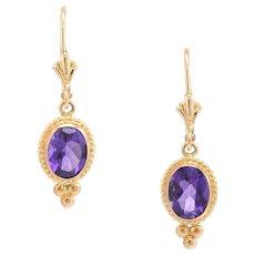 Amethyst Drop Earrings Estate 14 Karat Yellow Gold Vintage Fine Jewelry Pre Owned