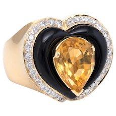 Citrine Onyx Diamond Cocktail Ring Vintage 18 Karat Yellow Gold Estate Fine Jewelry