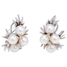 Cultured Pearl Diamond Cluster Earrings Vintage 14 Karat White Gold Estate Jewelry