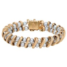 Lucien Piccard Cultured Pearl Bracelet Vintage 14 Karat Yellow Gold Estate Jewelry