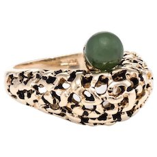 Jade Honeycomb Dome Ring 70s Vintage 10k Karat Yellow Gold Estate Fine Jewelry