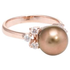 Brown Cultured Pearl Diamond Ring Estate 14 Karat Rose Gold Vintage Jewelry Fine