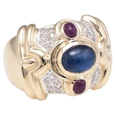 Gemstone Wide Band Cigar Ring Vintage 14 Karat Yellow Gold Estate Fine Jewelry 7