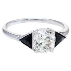 Vintage Art Deco 1.20ct Diamond Onyx Platinum Engagement Ring Estate Jewelry