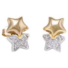 Diamond Star Stud Earrings Vintage 18 Karat Two Tone Gold Estate Fine Jewelry