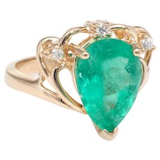 Pear Cut Columbian Emerald Diamond Ring Vintage 14 Karat Yellow Gold Estate Jewelry