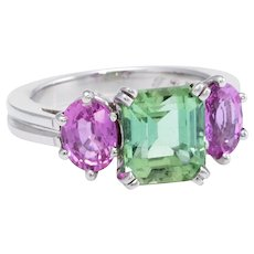 Green Tourmaline Pink Sapphire 3 Stone Platinum Ring Estate Jewelry Vintage