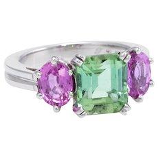 Green Tourmaline Pink Sapphire 3 Stone Platinum Ring Estate Jewelry Vintage