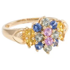 Rainbow Sapphire Cluster Gemstone Cocktail Ring Estate 14 Karat Yellow Gold Vintage