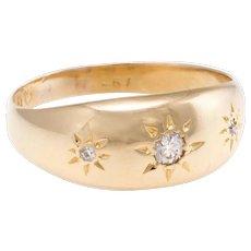 Antique Victorian Diamond Gypsy Ring Vintage 18 Karat Yellow Gold Estate Fine Jewelry