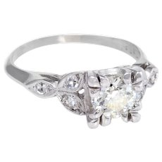 Vintage Art Deco Diamond Platinum Engagement Ring Estate Bridal Jewelry