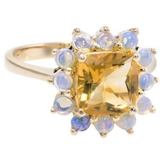 Citrine Opal Cocktail Ring Vintage 14 Karat Yellow Gold Estate Fine Jewelry Pre Owned