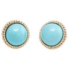 Egg Shell Blue Turquoise Round Clip Earrings Vintage 14 Karat Yellow Gold Estate