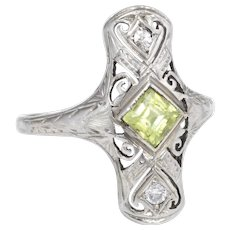 Antique Deco Peridot Diamond Cocktail Ring Vintage 14 Karat White Gold Estate Jewelry