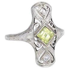Vintage Art Deco Peridot Diamond Cocktail Ring 14 Karat White Gold Estate Jewelry