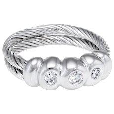 Charriol Classique 3 Diamond Band Ring Estate 18 Karat White Gold Steel Jewelry 5.5