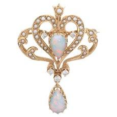 Opal Diamond Seed Pearl Pendant Brooch Vintage 14k Yellow Gold Estate Jewelry