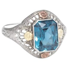 Vintage Art Deco Filigree Cocktail Ring 10 Karat White Gold Estate Fine Jewelry
