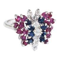 Gemstone Butterfly Ring Vintage Diamond Ruby Sapphire 14 Karat White Gold Estate