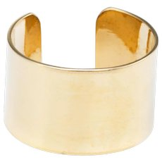 Wide Band Pinky Cuff Ring Vintage 10 Karat Yellow Gold Estate Fine Jewelry Sz 4.5