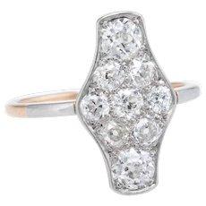 Vintage Art Deco Diamond 900 Platinum 14 Karat Gold Cocktail Ring Estate Fine Jewelry